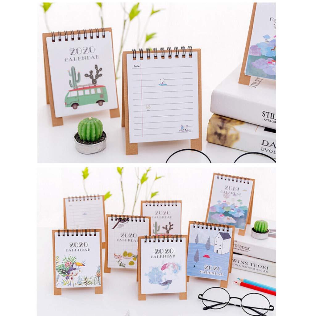 A 2020 Cute Cartoon Mini Monthly Wall Desk Paper Calendar 12.5cmx9.5cm Memorandum Plan Calendar Daily Planner Gaddrt Standing Table Desk Flip Calendar