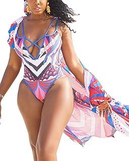 5026c52f5db BIUBIU Women Summer Sexy V Neck One Piece Monokini Swimsuit + Chiffon Cover  Up Swimwear Set