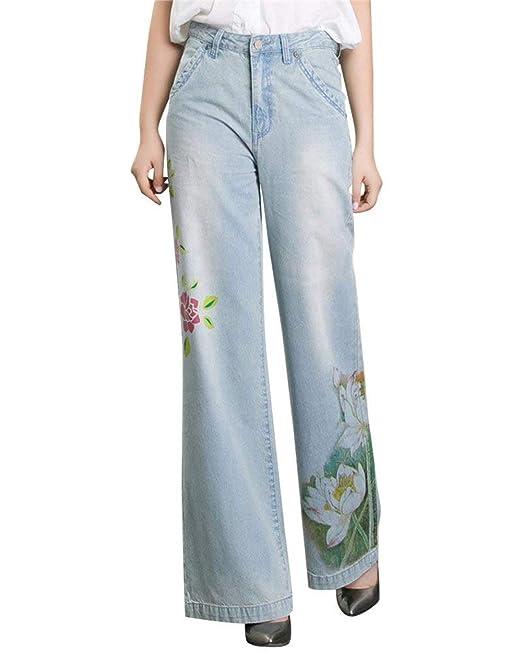 93cf443c7a Pantalón Ancho para Mujer Pantalones Casuales con Estampado De Flores  Sencillos De Época Bolsillos Delanteros Pantalón con Pantalones Anchos con  Botones ...