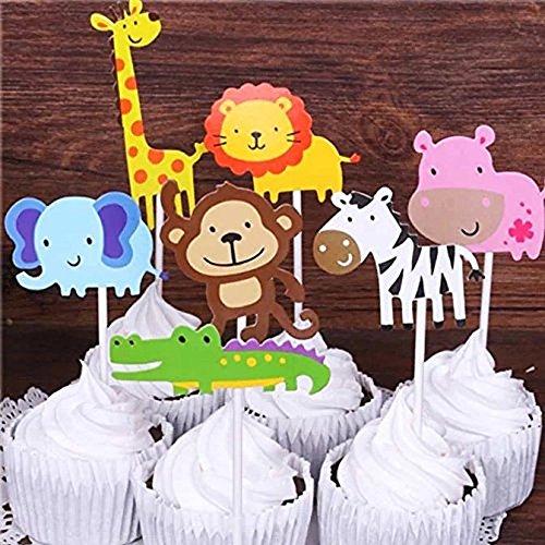Super 28 Pack Cute Zoo Animal Cupcake Toppers Picks Jungle Animals Cake Funny Birthday Cards Online Amentibdeldamsfinfo