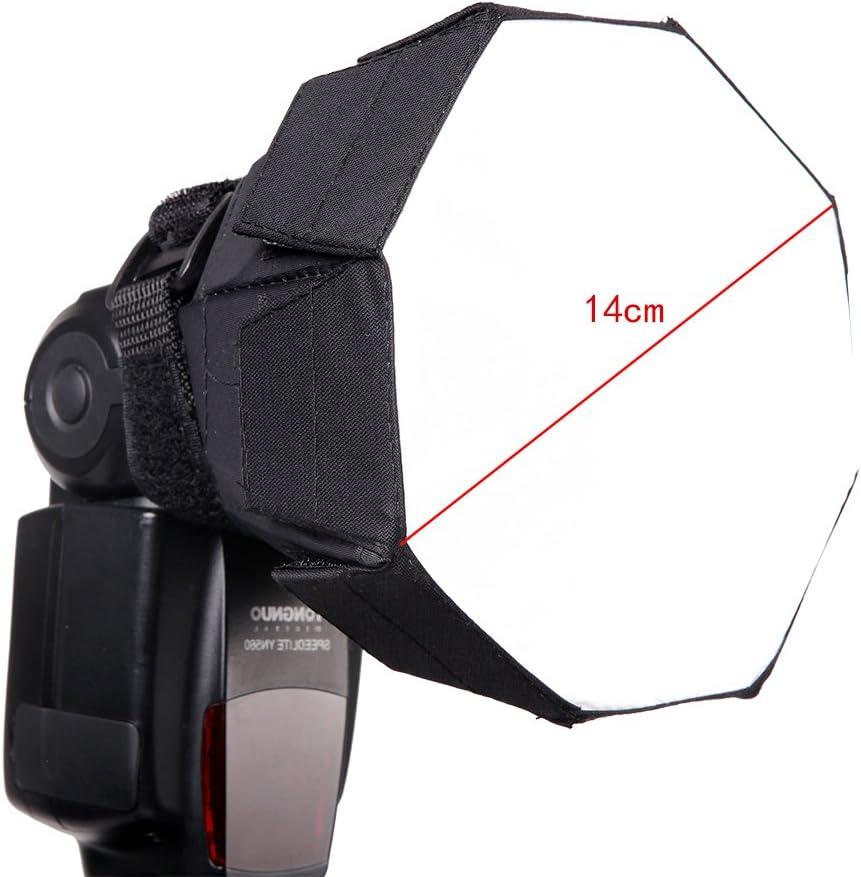 FOTOCREAT 7Inch( 18cm) Mini Octagon Flash Diffuser Light Softbox for Nikon//Canon//Sony//YongNuo//Bower//Metz//Nissin//Pentax//Sigma//Vivitar//Sunpack Speedlite