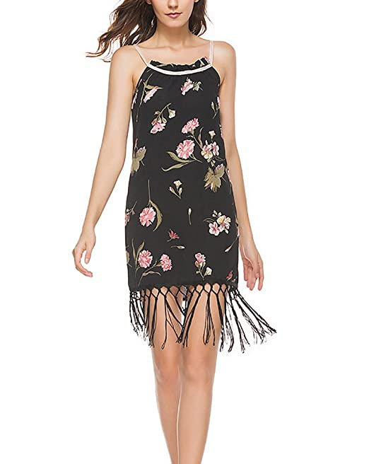 Mujer Vestidos De Fiesta Cortos Verano Elegantes Flores Estampados Vintage Vestido Tirantes Hombros Descubiertos Con Borla