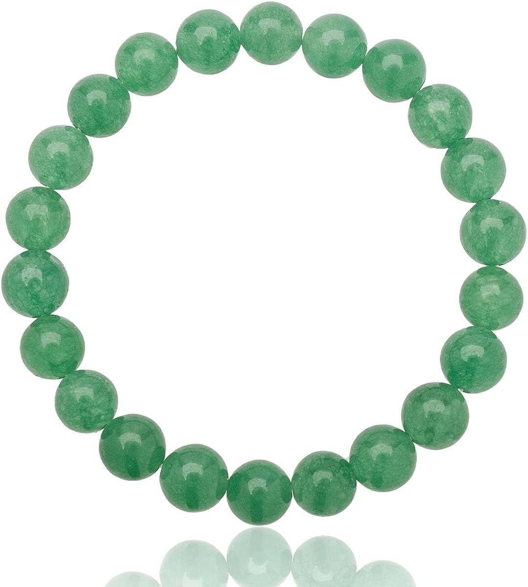 Unique pulsera de perlas Aventurina verde 8mm grado AAA banda elástico One Size Fits All 16cm para 20cm