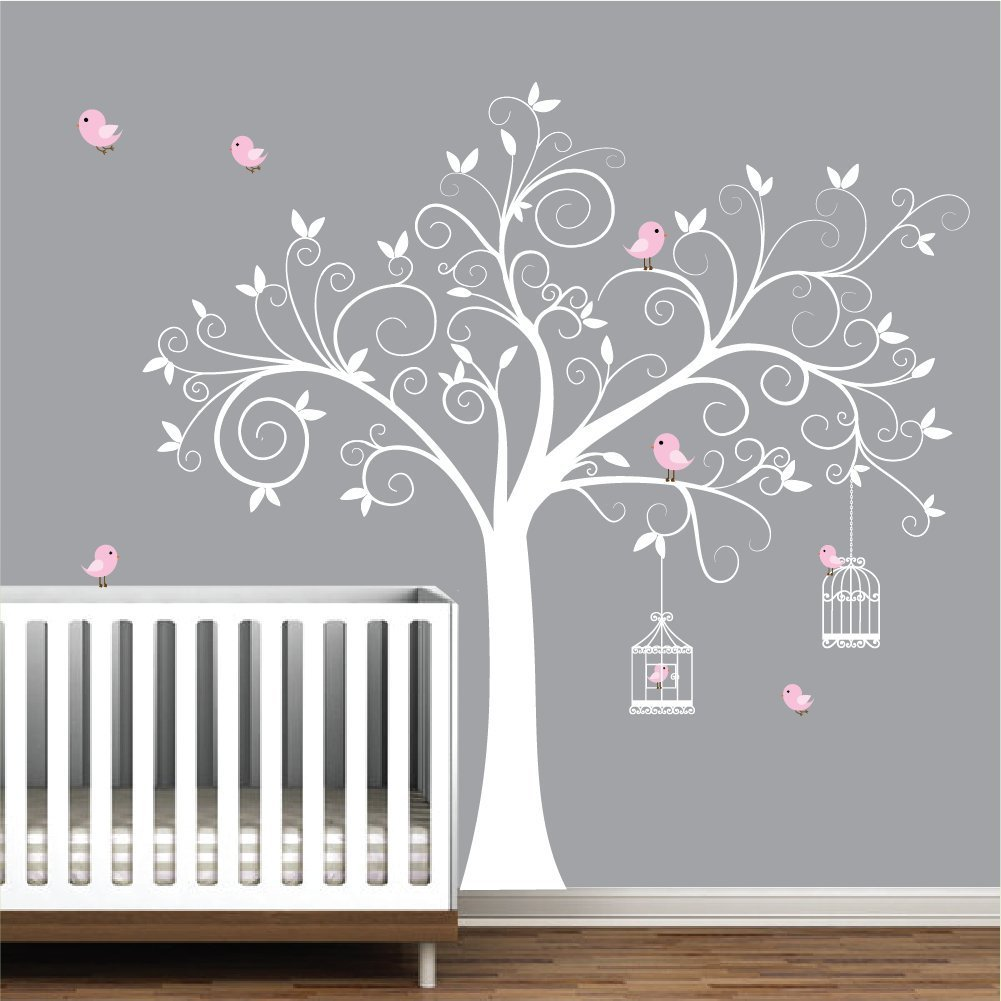 Amazon.com: Wall Decals Wall Stickers Tree Decal With Birds,BirdCages Nursery  Wall Decals Wall Stickers Wall Art Girls Nursery Decor: Handmade