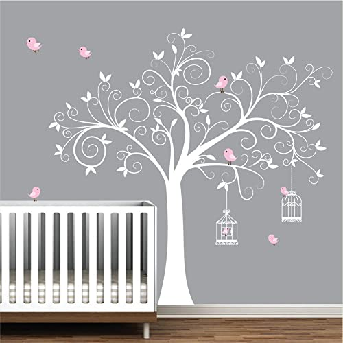 Wall Decals Wall Stickers Tree Decal With Birds,BirdCages Nursery Wall  Decals