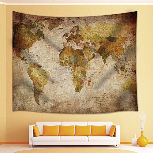 Wall World Map Decor Old Globe Design Students Gifts Tapestry Wall Hanging for Bedroom Living Room Dorm 71 X 60 Inches (Multi20)