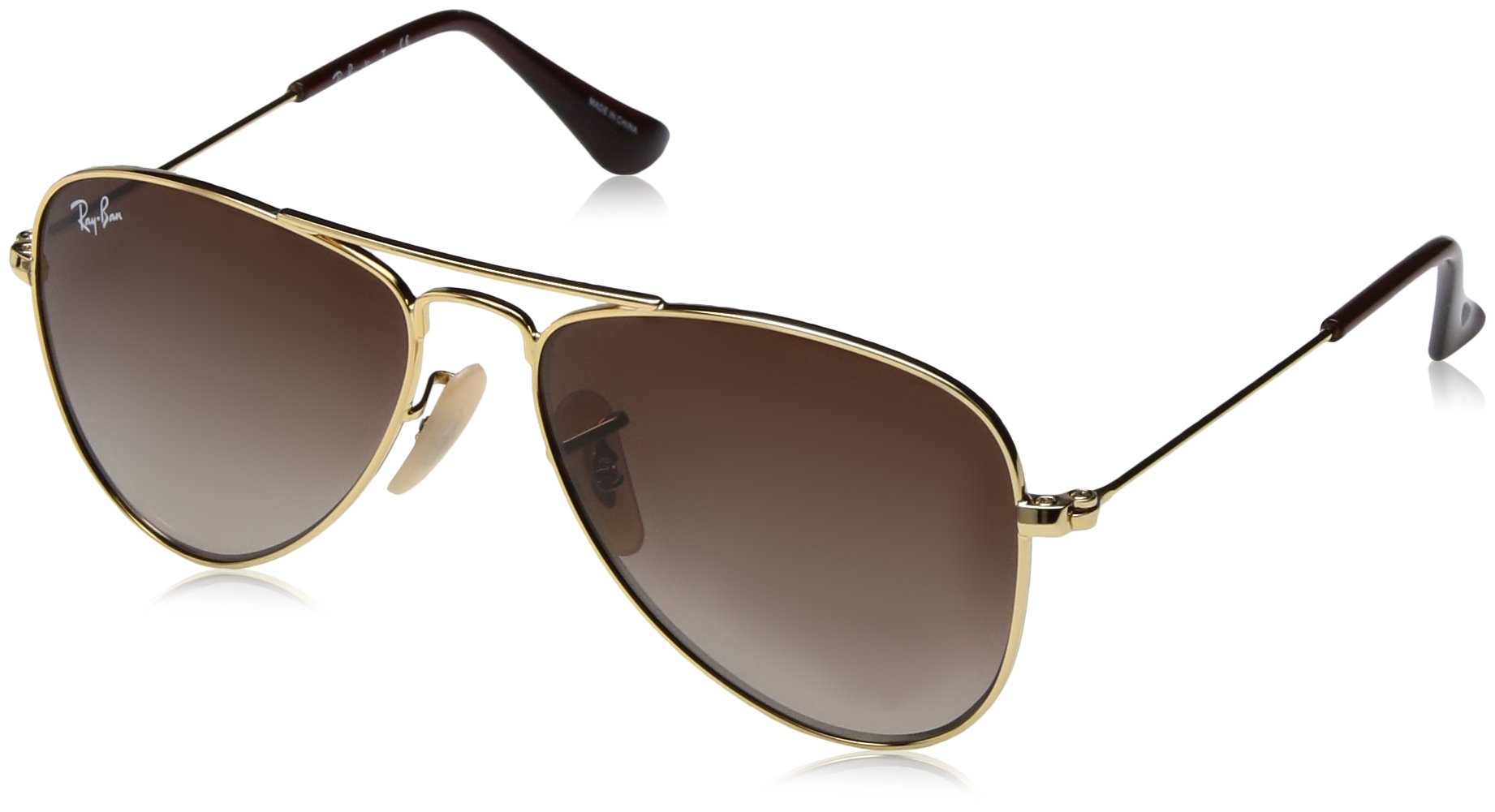 RAY-BAN JUNIOR Kids' RJ9506S Aviator Kids Sunglasses, Gold/Brown Gradient, 50 mm by RAY-BAN JUNIOR