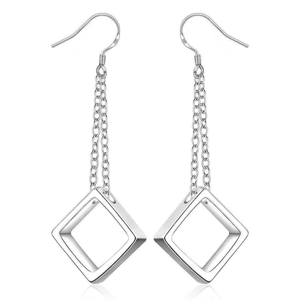 BLOOMCHARM Square Silver Dangle Drop Long Earrings Pendant Jewelry, Gifts for Women Girls