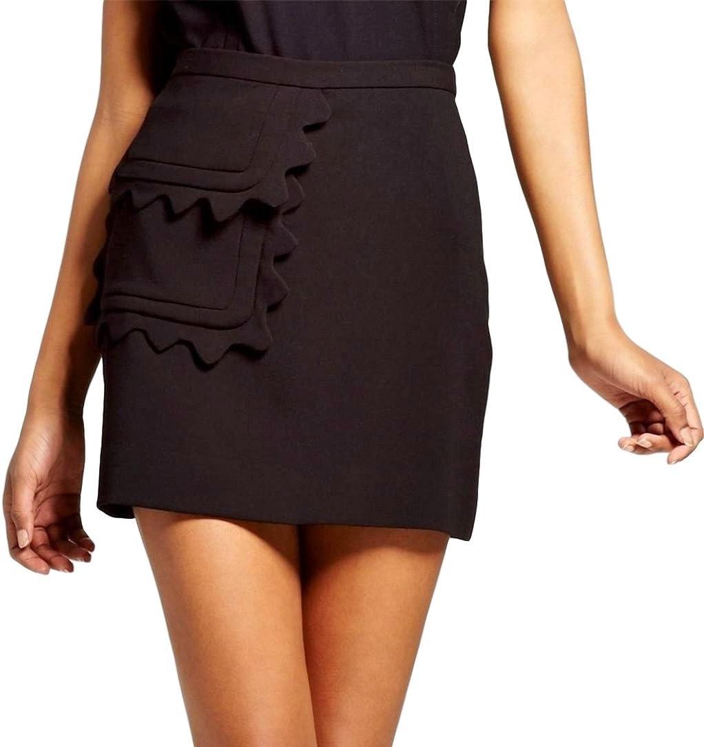 تنورة فيكتوريا بيكهام نسائية من نسيج قطني مع جيب بحواف صدفية