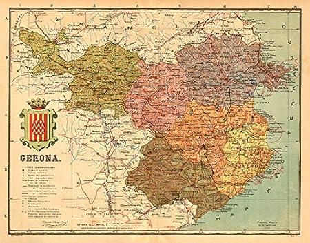 Gerona Girona. Cataluña Catalunya Catalonia Mapa antiguo Provincia. Martin - c1911 - Mapa antiguo vintage - Mapas impresos de España: Amazon.es: Hogar