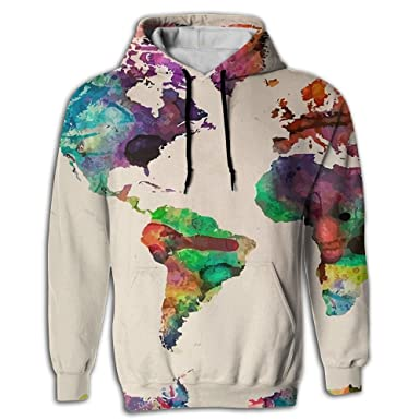 Amazon mens fashion hoodie sweatshirt with pocket colorful mens fashion hoodie sweatshirt with pocket colorful world map pullover hooded sweatshirt gumiabroncs Images