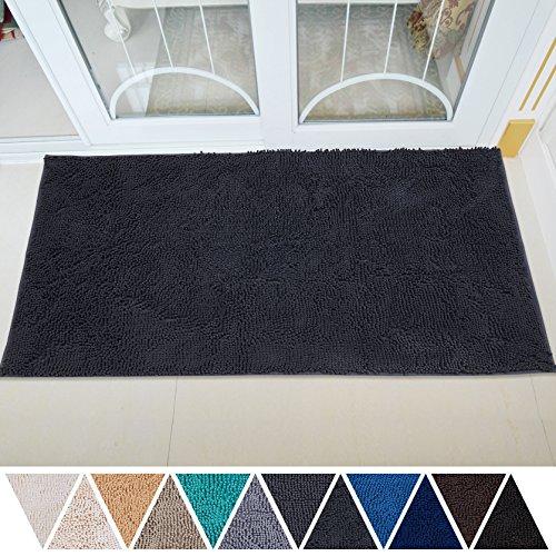 DEARTOWN 31x59 Inch Absorbent Chenille Microfiber Dog Door Mat | Absorbent, Quick Dry, Anti-Skid TPR Bottom (31x59 Inches, Dark Gray)