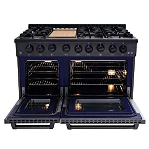 Thor Kitchen 48 Inch Gas Range 6 Burners Cooktop 6.7 cu.ft Oven Black Steel - HRG4808-BS