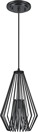 Aspen Creative Black 61080-1 Metal Wired Mini Pendant Finish, 1 Light-9 1 2 Wide