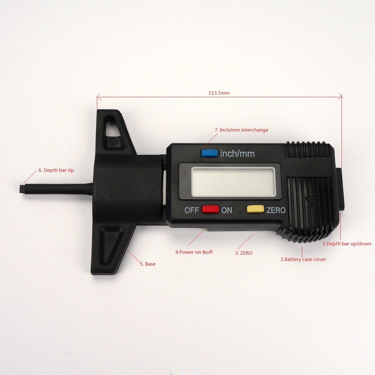 #1000590 per pastiglie dei freni 25/mm Ezi misuratore con display LCD digitale per la profondit/à del battistrada