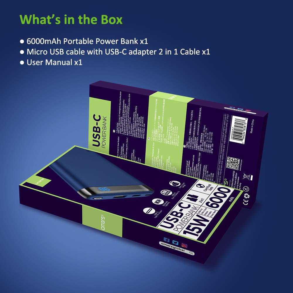 Omars Power Bank 6000mAh Caricabatterie Portatile con Porta USB C da 15W, USB A Porta 2.4A Powerbank per iPhone X 8 7 Plus 6s 6 iPad Air Mini Samsung Galaxy S9 S8 S7 Edge S6 Smartphone