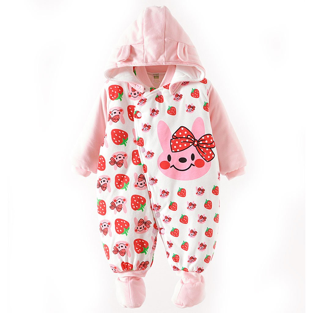 GudeHome Baby Clothes Newborn Hooded Romper Cotton Thickenen Jumpsuit Outwear Cute Outfits Pink Smile 0-3 Months