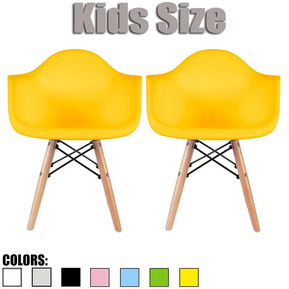 2xhome Set of Two (2) - Kids Size Eames Armchairs Eames Chairs Seat Natural Wood Wooden Legs Eiffel Childrens Room Chairs Molded Plastic Seat Dowel Leg (Yellow)