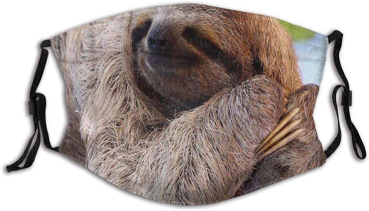 VORMOR Gesichtsbedeckung,EIN Faultier mit langem Fell und Klaue auf dem Baum Sieht aus wie EIN L/ächeln,Sturmhaube Wiederverwendbare Winddichte Anti-Staub-Mund Bandanas Halsmanschette mit 2 Filtern