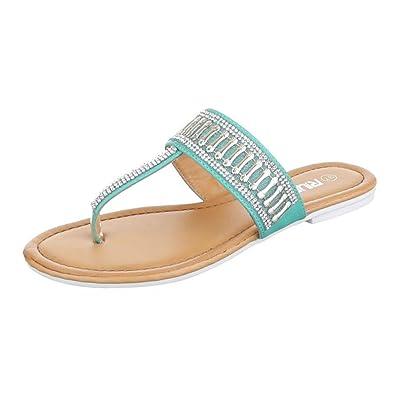 Damen Latschen/Zehentrenner/Flip Flops/Flache Sohle/Sommerschuhe/Bequeme Freizeitschuhe/Sandale/Blau, EU 41