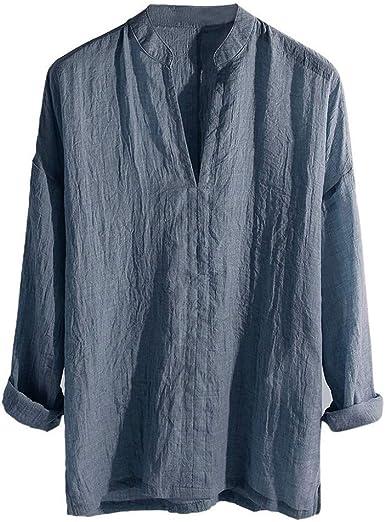 Blusas Hombre Manga Larga Camisas Casual para Hombre Camisa de Cuello en v para Hombre Camisa de Manga Larga Suelta de Color sólido para Hombre Camiseta cómoda Transpirable Camisa Slim fit: Amazon.es: