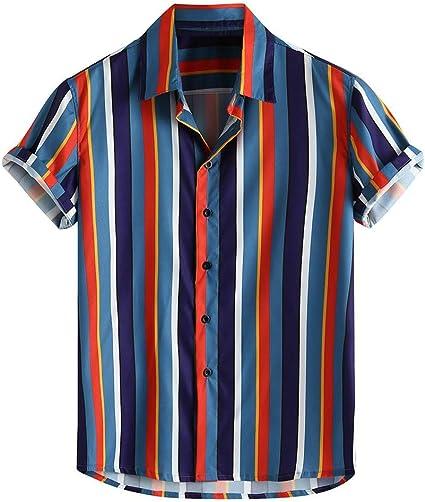 ZODOF Camiseta Hombre Manga Corta Casual, Camisas Hawaiana Algodón ...