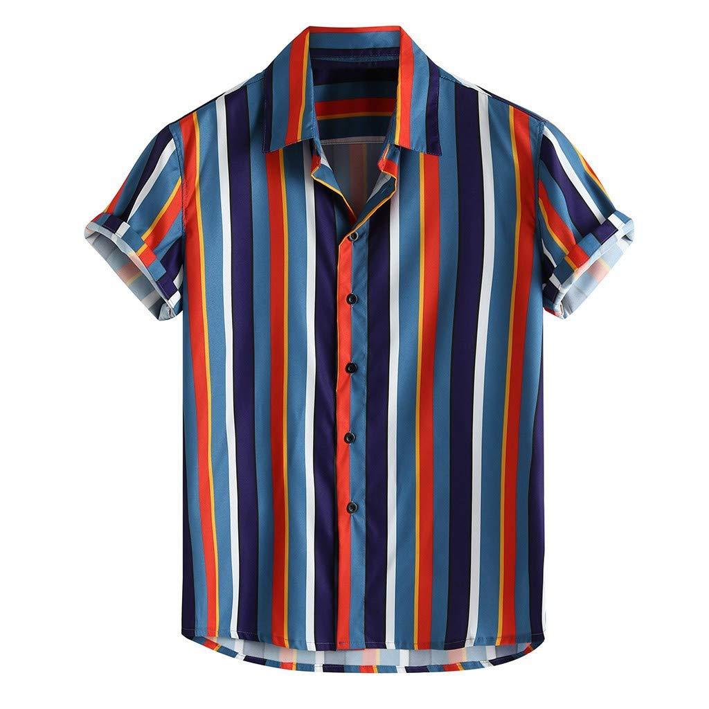 TIFENNY Men's Color Block Shirts Cotton Linen Printed Turn Down Collar Short Sleeve Loose Casual Shirt Tops Summer Tee Blue