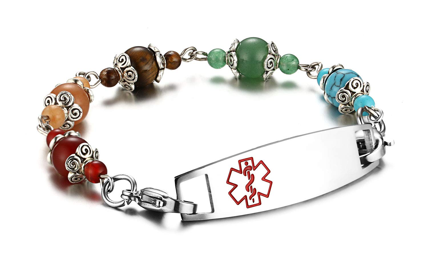 JF.JEWELRY Medical Alert ID Bracelet for Women with Natural Stone Beads Custom Engraving by JF.JEWELRY