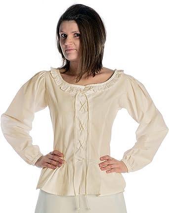 HEMAD Blusa medieval femenina - Encaje frontal y trasero - Algodón puro – S-XXXL Verde, Beige, Negro, Blanco: Amazon.es: Ropa y accesorios