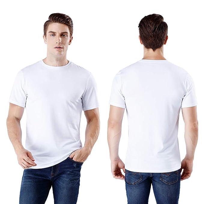 3d10cf6c9c wirarpa Camiseta para Hombre Algodón Manga Corta con Cuello Redondo Negro  Blanco Tallas S M L XL XXL  Amazon.es  Ropa y accesorios