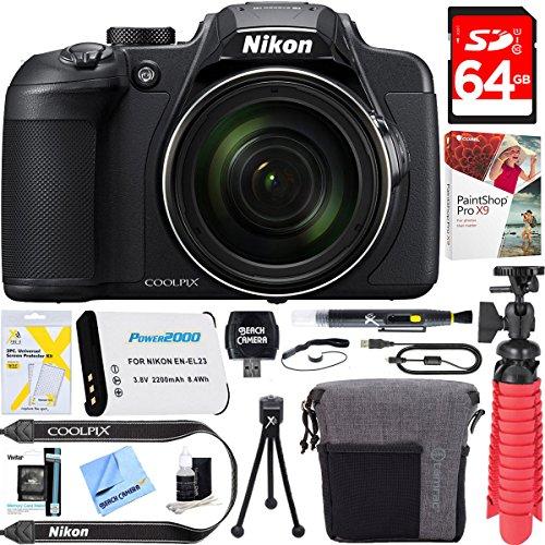 Nikon COOLPIX B700 20.2 MP 60x Optical Zoom Super Telephoto NIKKOR Digital 4K Wi-Fi Camera (Black) + 64GB SDXC Memory & Accessory Bundle by Beach Camera