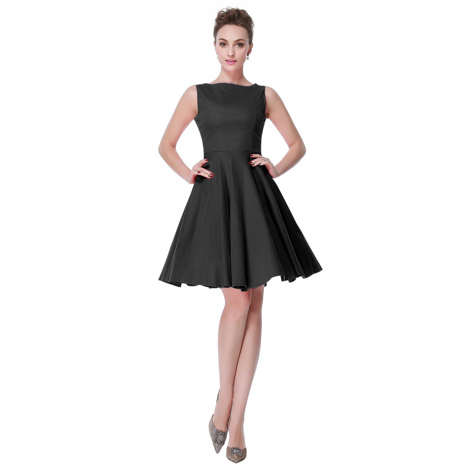 Heroecol Vintage 1950s 50s Dress Hepburn Style Retro Rockabiily Cocktail L BK