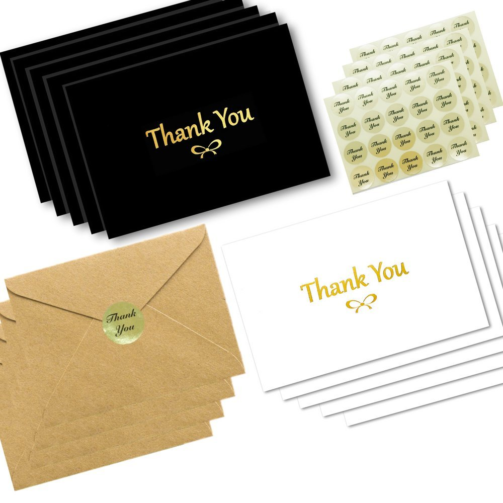 100 Thank You Cards With Gold Foil Embossed Designs | 4 x 6 Inches, Bulk Blank Note Cards With Envelopes And Gold Stickers | Perfect For Wedding, Bridal Shower, Baby Shower, and Business (Black White)