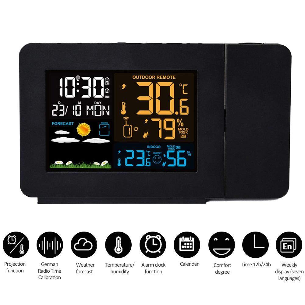 Calendario posticipa a soffitto//a Parete con proiettori digitali con Display LCD retroilluminato Stazione Meteo SOWLFE Sveglia a proiezione Colorata Multifunzione