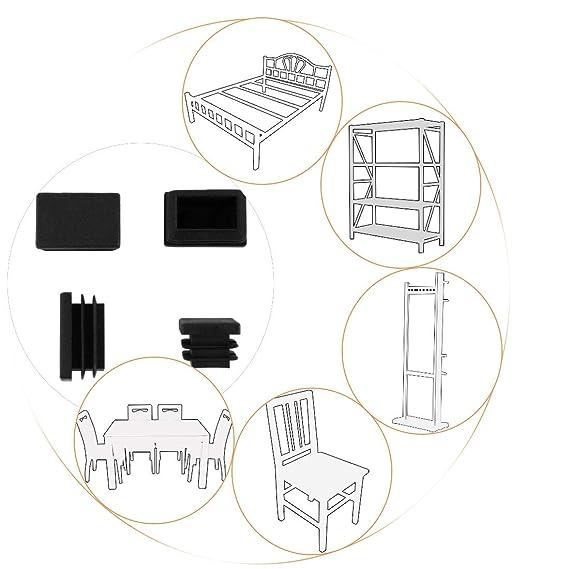 GLEITGUT 4 x Tapones de l/áminas 40 x 20 mm Tapas para tubo cuadrado de silla Tapones rectangulares