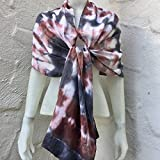 FREE SHIPPING IN USA Silk Scarf for Women or Men in Ruby Red, Charcoal Grey & White One of a Kind Handmade in USA Wearable Art