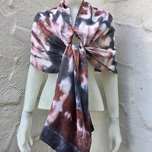 FREE SHIPPING IN USA Silk Scarf for Women or Men in Ruby Red, Charcoal Grey & White One of a Kind Handmade in USA Wearable Art by Scarf Spree
