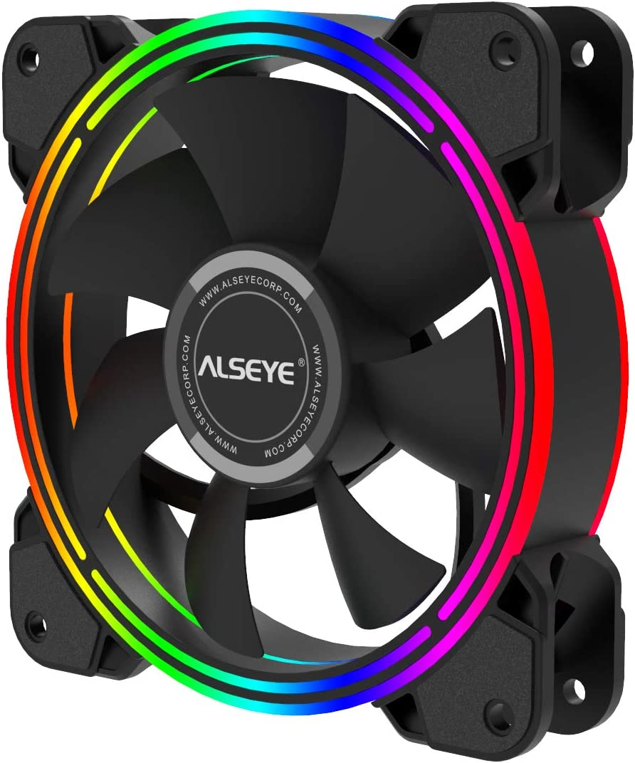 ALSEYE 120mm Cooling Fan, 4 pin RGB PC Case Fan High Airflow Static LED Computer Radiators Fan for Case and CPU Fan Cooler Replacement