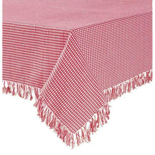 Dolin-Decor New Homespun Check Woven Cotton Reversible Tablecloth (Red, 70