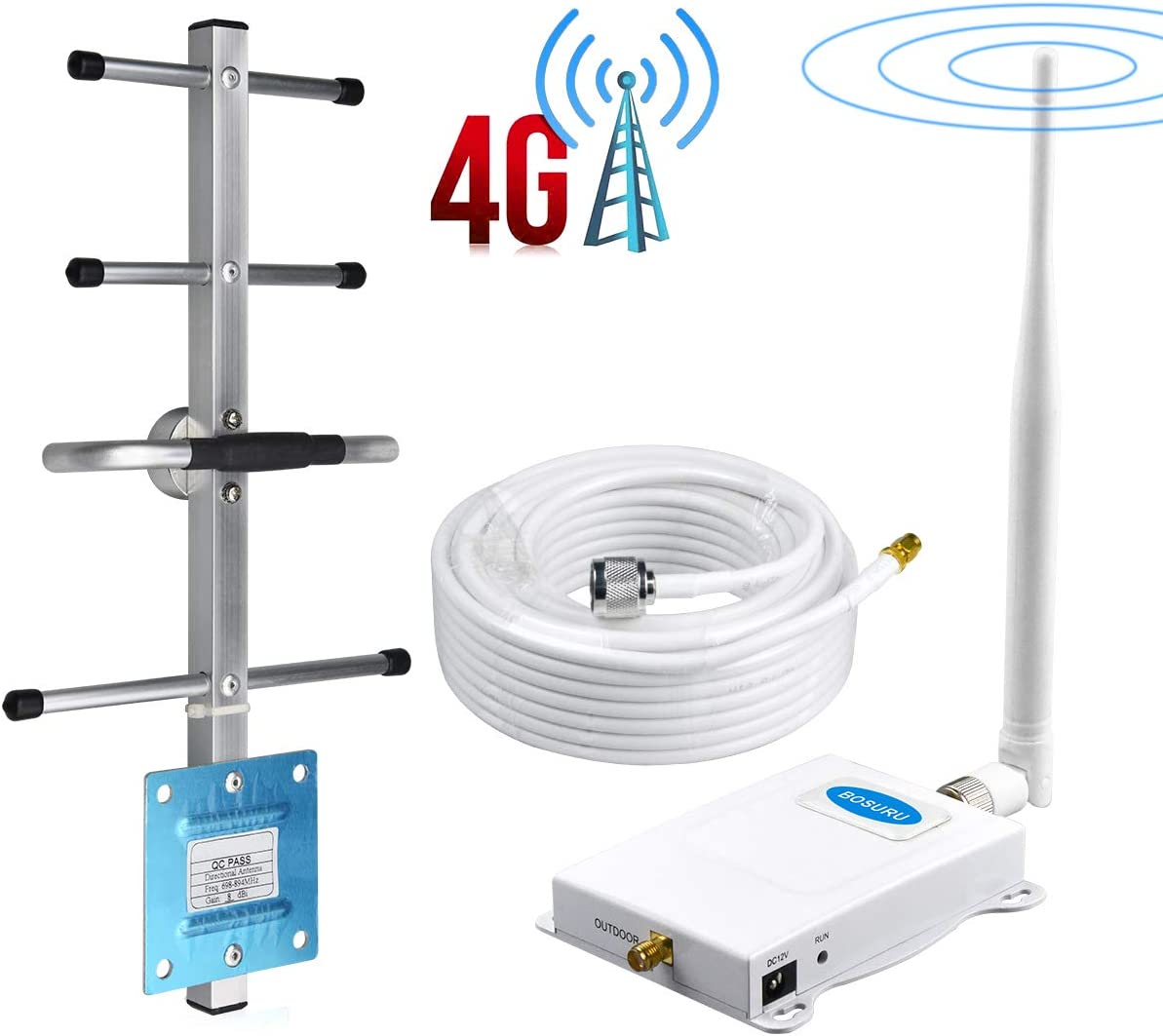 Verizon Cell Phone Signal Booster 4G LTE Band 13 700Mhz Verizon Cell Signal Booster Verizon Cell Phone Signal Amplifier Repeater Home Mobile Signal Booster Improve Voice//Data Whip+Yagi Antennas Kit