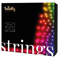 Twinkly - TWS250STP 250 RGB Multicolor LED String Lights - App-Controlled LED Christmas Lights with Green Cable (65.5ft) - IoT & Razer Chroma Enabled - Indoor/Outdoor Party Decorations