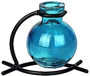 """Romantic Decor and More G79F Recycled Glass Floral Vase, Incense or Reed Holder with Metal Stand, 4"""" Aqua, 1 Piece."""