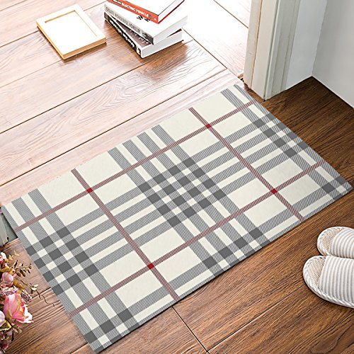 Rustic Grey Ivory Red Buffalo Check Plaid Doormat 23.6x15.7inch -