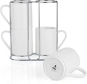 Teocera Porcelain Coffee Mugs with Stand, Coffee Mug Set - 11 Ounce for Tea, Cocoa, and Mulled Drinks - Set of 4, White
