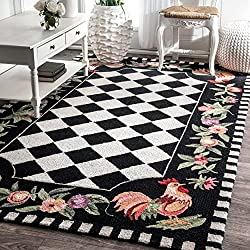 Hand Hooked Moroccan Rooster Patterned Area Rug, Bold Flower Garden Geometric Shapes Themed, Rectangle Indoor Outdoor Hallway Doorway Living Area Bedroom Carpet, Modern Geo Style, Black, Size 5' x 8'