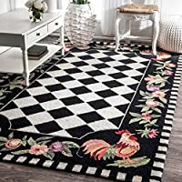 Hand Hooked Moroccan Rooster Patterned Area Rug, Bold Flower Garden Geometric Shapes Themed, Rectangle Indoor Outdoor Hallway Doorway Living Area Bedroom Carpet, Modern Geo Style, Black, Size 5 x 8