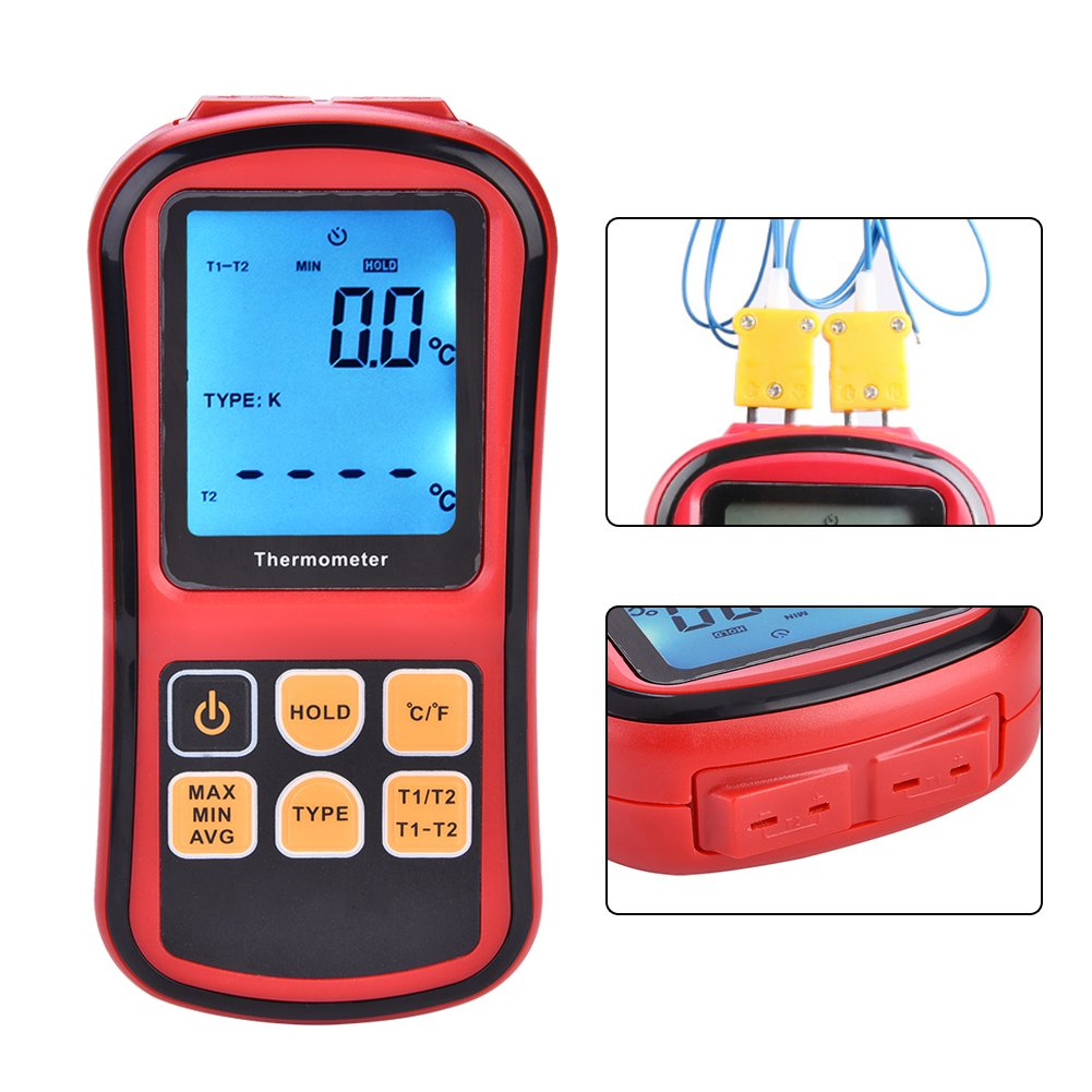 Handheld Thermometer Dual-Channel Digital LCD Backlight Display Desktop High Temperature Kelvin Scale Measurement Meter with 2 K-Type Thermocouple Sensor Probe for K J T E R S N