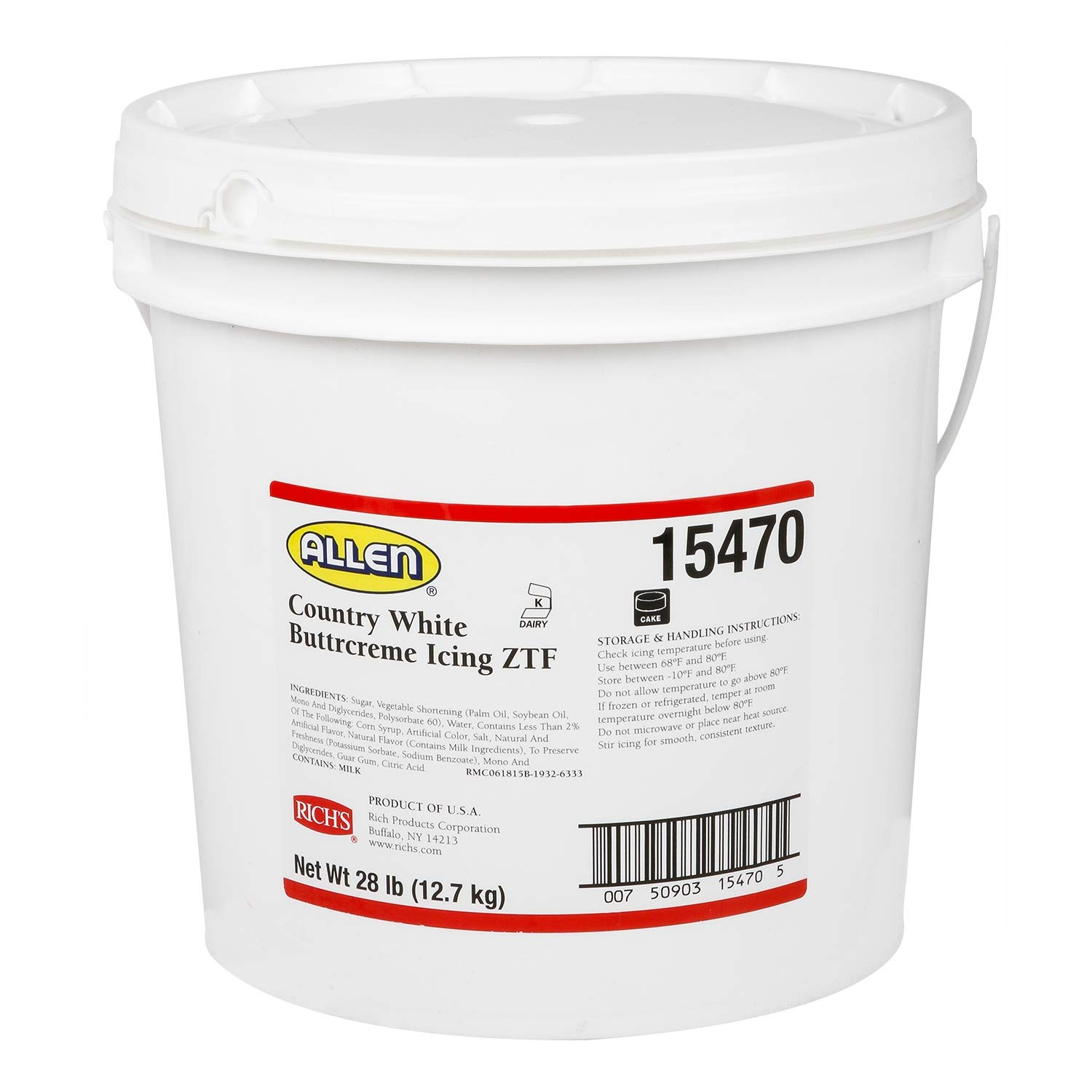 Rich's JW Allen Pre-Whipped Buttrcreme Icing ZTF, Country White, 15 lb