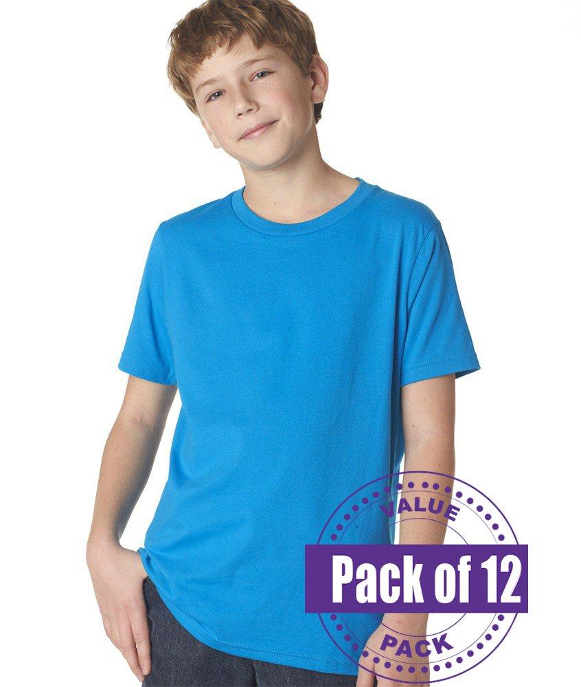 Next Level Boys' Short-sleeve Fine Jersey Crew - Turquoise - XS