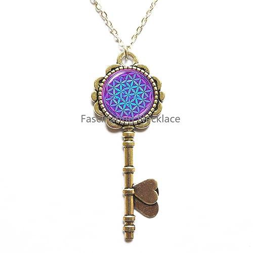 Amazon.com: Púrpura Azul Om clave colgante clave joyería del ...